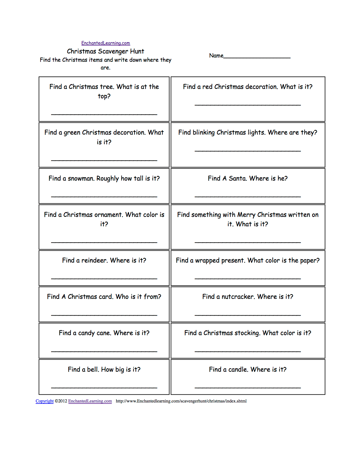 Scavenger Hunt Student Worksheet Answer Key