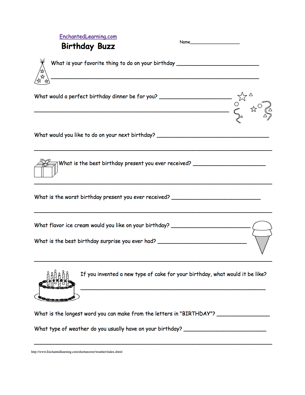 Writing Worksheets Birthday Activities At