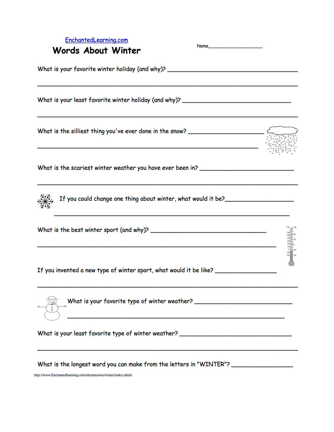Writing Worksheets Winter K 3 Theme Page At