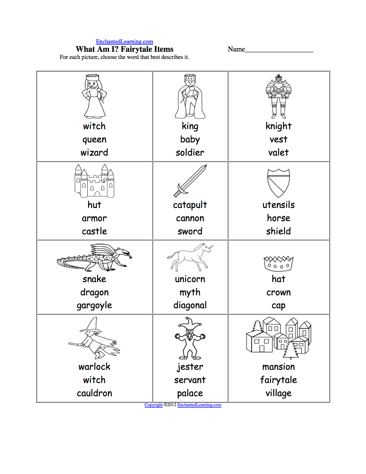 Spelling Worksheets Kings Queens And Castles K 3 Theme Page At Enchantedlearning