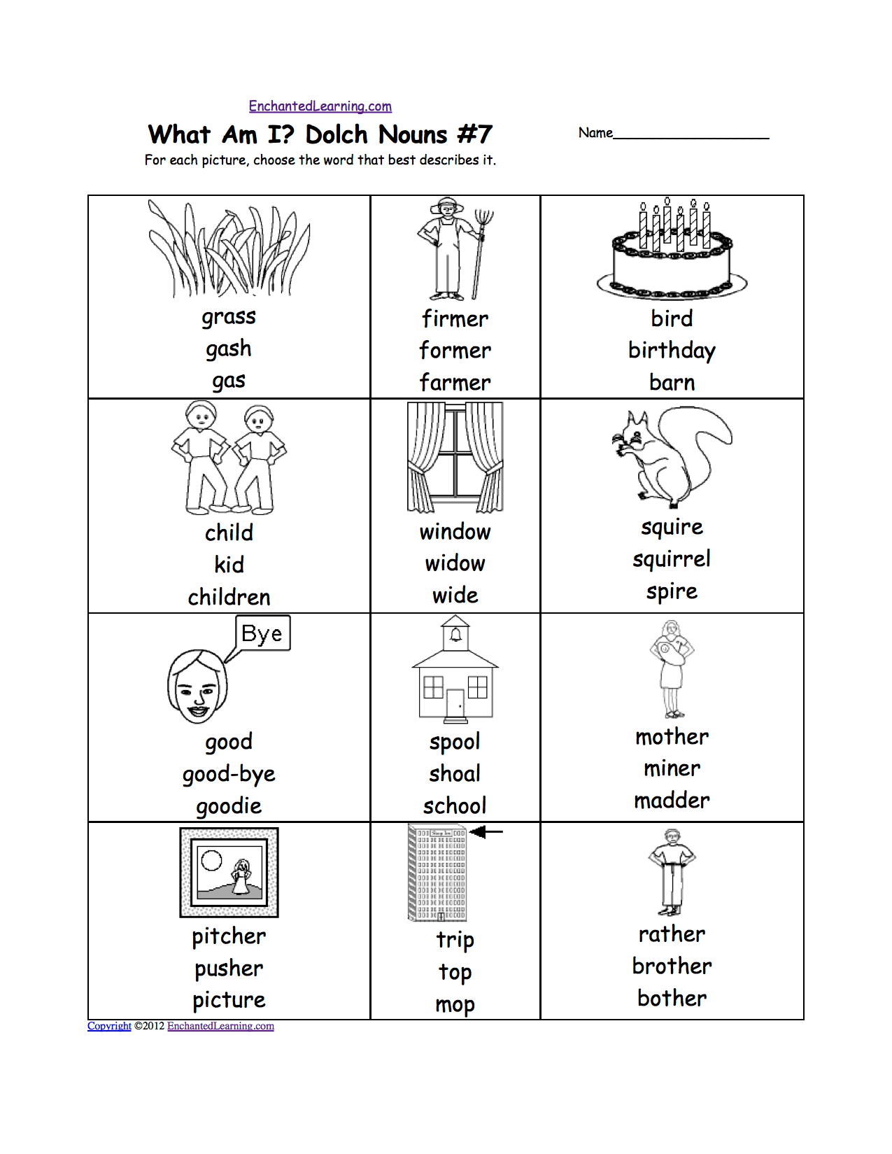 Dolch Nouns Multiple Choice Spelling Words At Enchantedlearning