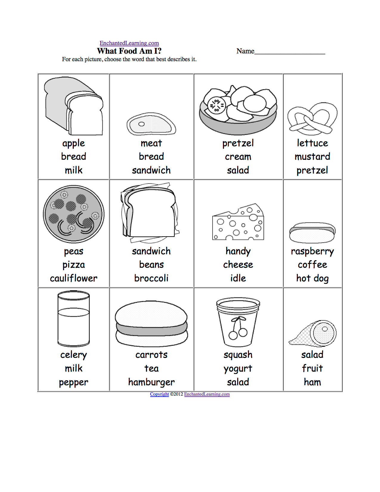 Mundo Infantilandia Food Worksheets