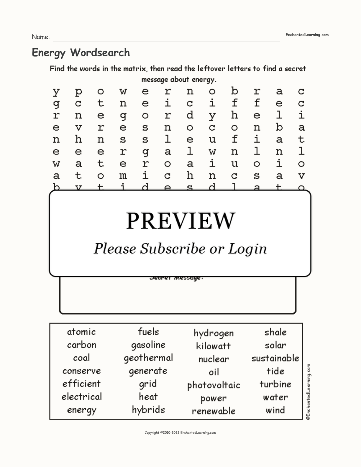 Energy Wordsearch