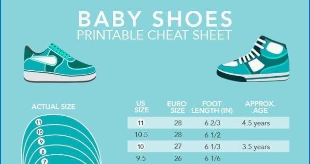 baby footwear sizes