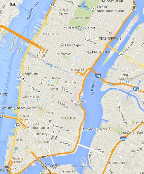 New York City's Layout Street Map