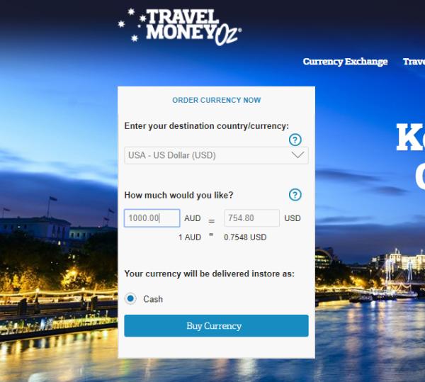 Travel Money Oz AUD to USD