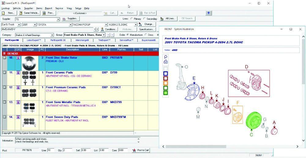 an image of the epicor partexpert ecatalog interface
