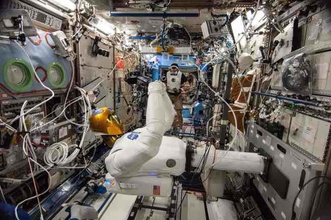 Space Robots: A picture of Robonaut 2 aboard the international space station.