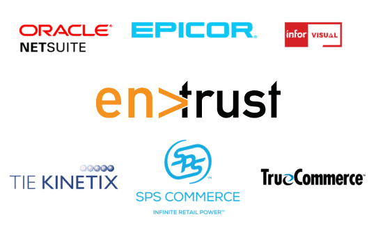 An image that includes the logos of all ERP and software systems that Encompass EDI integrates with.