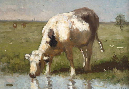 Cow Watering by a Pool by Anton Mauve