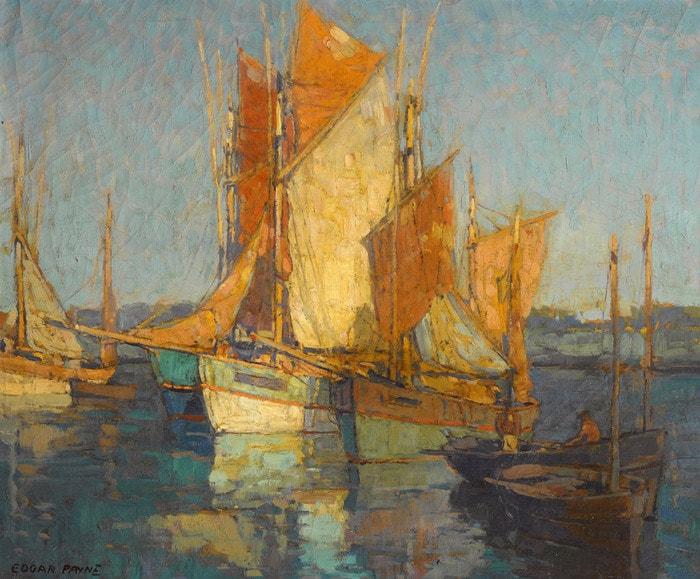 Sailboats in Harbor by Edgar Payne