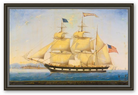 James Cook Entering the Port of Leghorn Framed Canvas Print