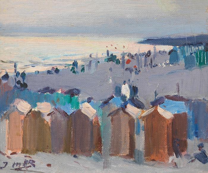 Bathing Huts on the Beach at Vilanova by Joaquim Mir
