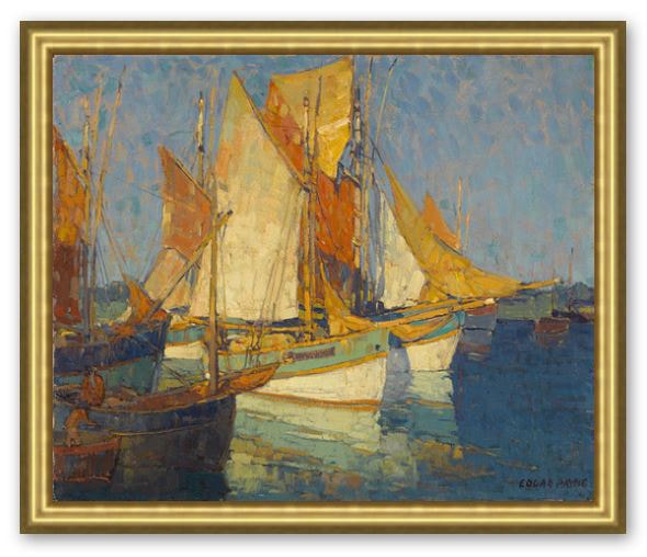 Sunlight on Brittany Boats by Edgar Payne Framed Canvas Print