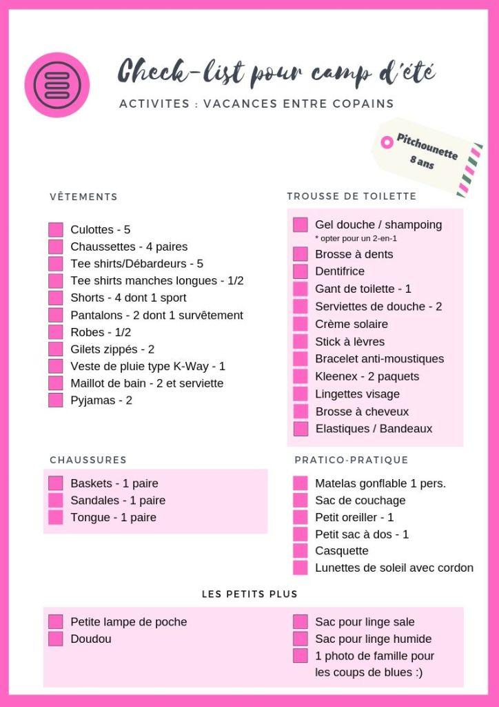 Liste vêtements pour camp d'été - fille