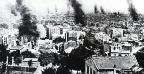 Conventos e iglesias en llamas. Semana Trágica. Barcelona 1909.