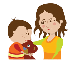 madre e hijo animados