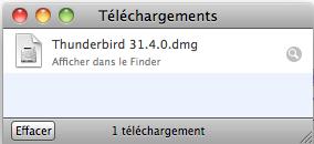 Thunderbird téléchargement terminé