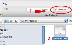 Sélection de la base de données Cal pour la fusion avec Mail Merge