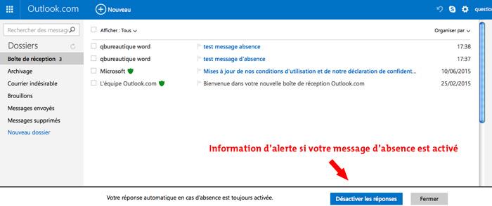 Outlook cr er un message d 39 absence automatique sous outlook - Exemple message absence bureau ...
