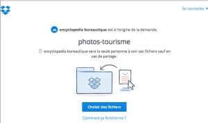 Choisir des fichiers pour les transmettre lors d'une demande de fichier avec Dropbox