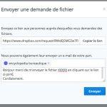Envoyer un email pour demander des fichiers avec dropbox à vos contact