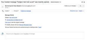 Message complet de la confirmation de lecture d'un mail