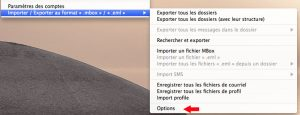 Personnaliser les options d'exportations des emails