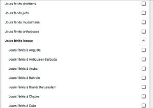 Agendas des calendriers religieux et fériés et vacances officielles par pays