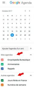 Les agendas Google