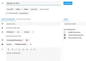 Interface complète d'un nouvel événement google Agenda