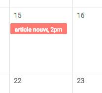 Événement dans un calendrier calendar