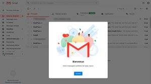 écran de bienvenue gmail 2018