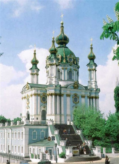 Image - Saint Andrew's Church in Kyiv designed by Bartolomeo Francesco Rastrelli and built in 1747-53.