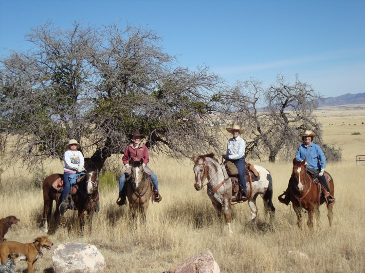 These are the FOUR HORSEWOMEN FROM SONOITA! and they escorted me across a section of National Forest, I never would have found my way across. Thank you Ladies