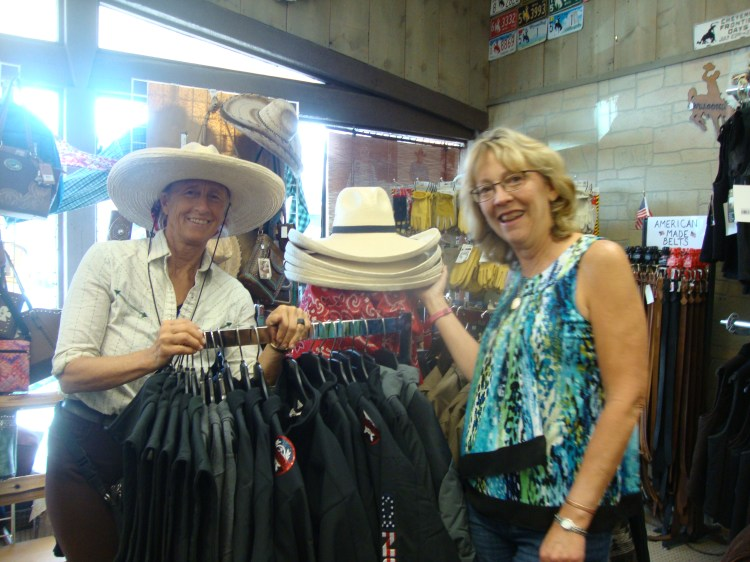 Martindale's Western Store, Family owned Joan Marindale showing off Sunbody Hats