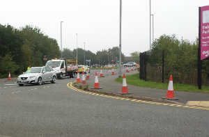 Roadworks Leicester Lane and B4114