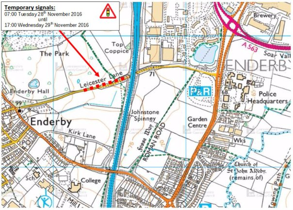 Leicester Lane roadworks map