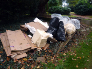 Flytipped rubbish at Enderby Hall