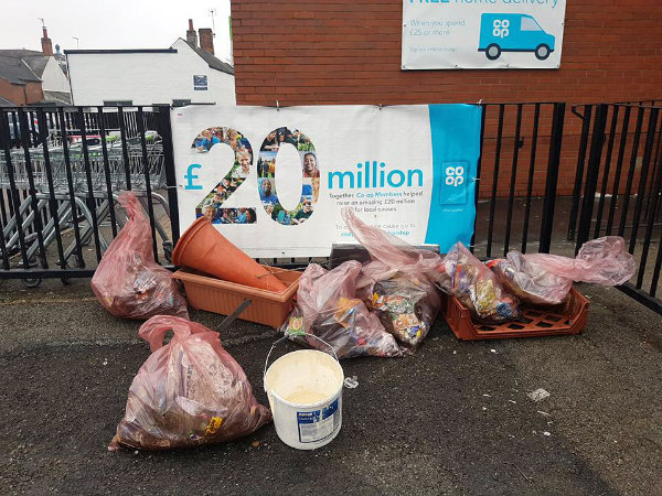 Litter sacks outside co-op