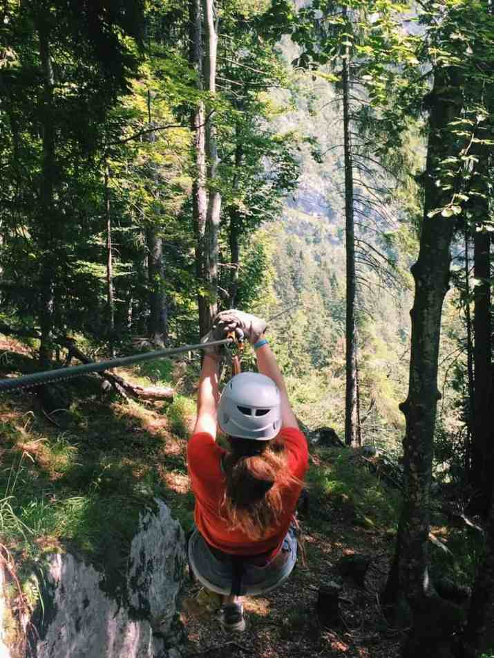 Me right after being pushed off a mountain in Slovenia! You can't go to Slovenia without ziplining with Aktivni Planet in Europe's biggest zipline park. Ziplining in Slovenia is unlike anything else.