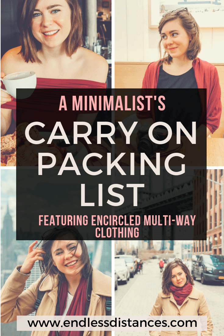 In this minimalist's carry on only packing list, you'll find a complete guide to traveling carry on only. Including the best multi-way clothing and more. #carryononly #carryontravel #carryon #encircled #chrysaliscardi #travel