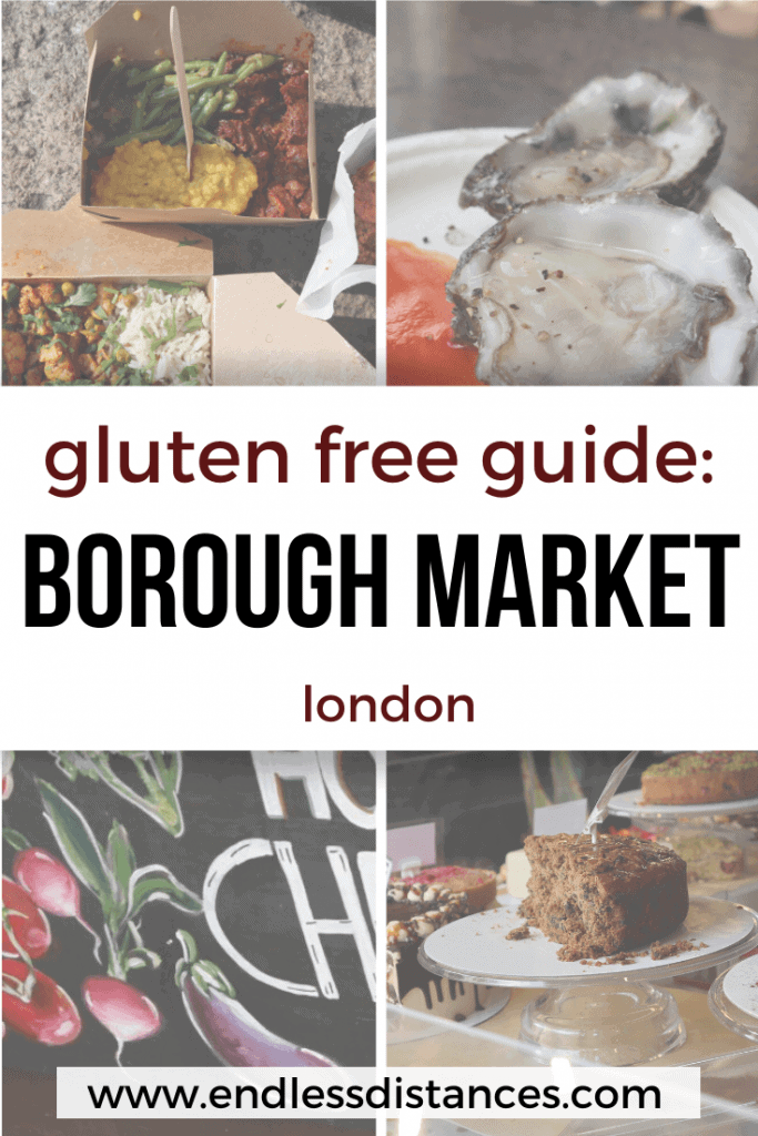 Worried about finding gluten free options at Borough Market? This complete gluten free Borough Market guide will help you navigate Londons best food market! #glutenfreeboroughmarket #glutenfreelondon #boroughmarket #london #londonmarkets #glutenfreetravel