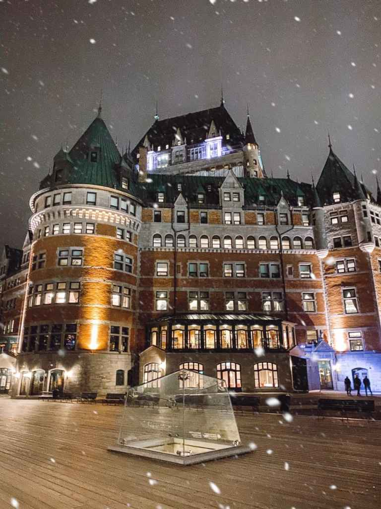 A snowy winter's night at Le Chateau Frontenac in Quebec City.