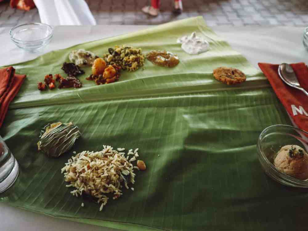 Eating off a banana leaf in south India