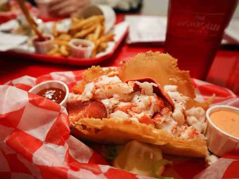 Lobster cheese crisp taco