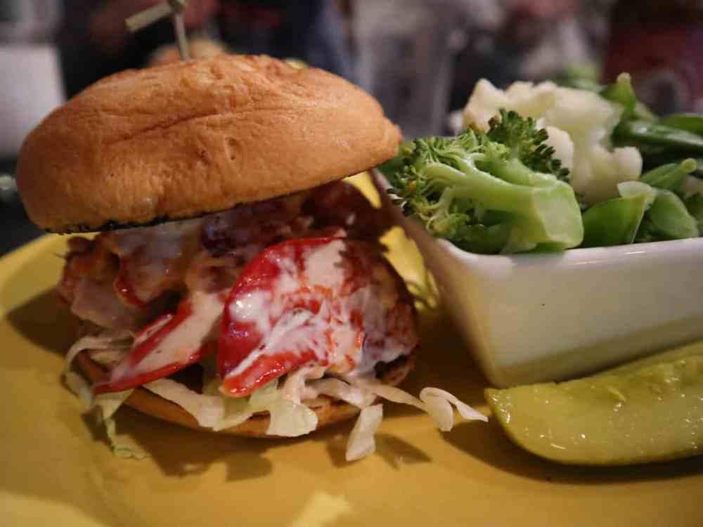 gluten free lobster roll at Sea Dog Brewing