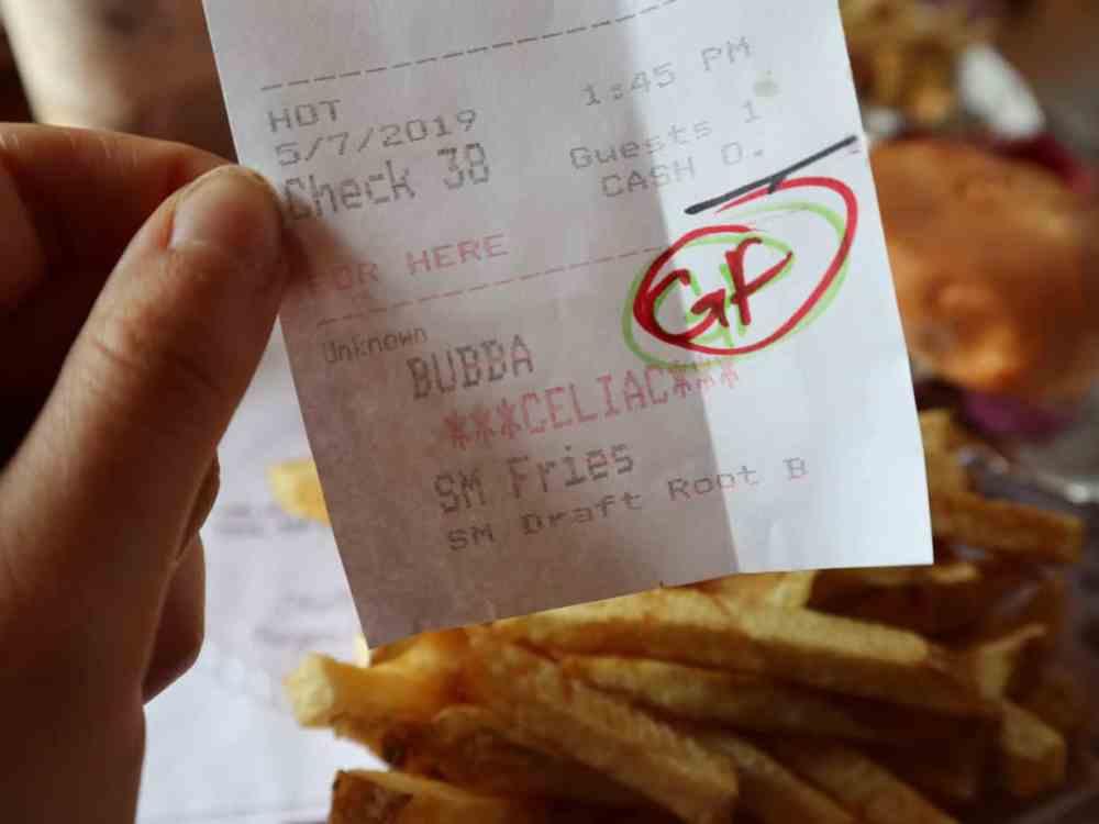 """A receipt that says """"celiac"""""""