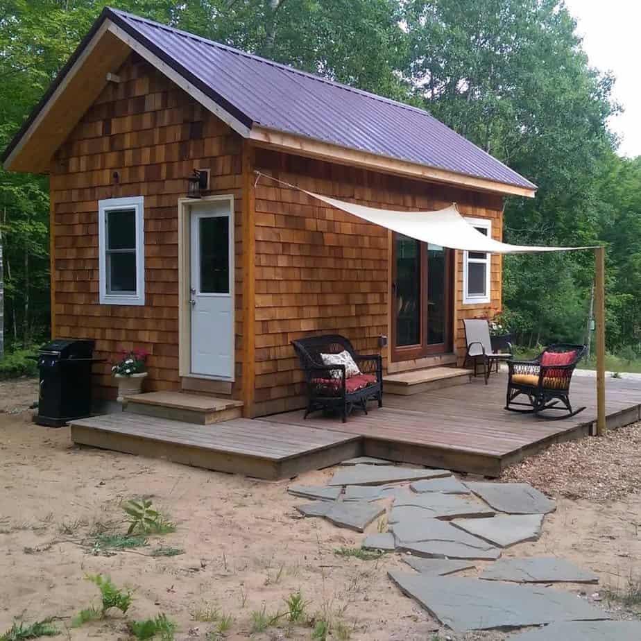 A wooden tiny house.