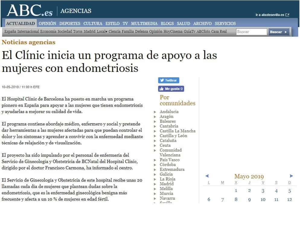 ABC. Programa pionero endometriosis en el Clinic
